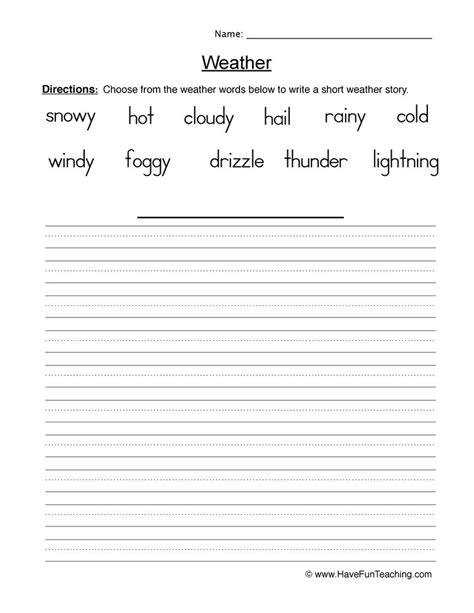 Resource  First Grade  Weather Worksheet Writing