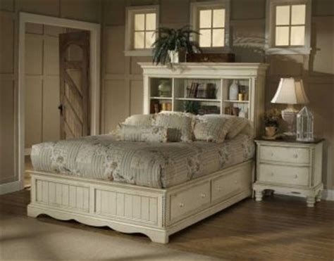 queen wilshire bookcase bed  storage antique white finish httphomegallerystorescomshop