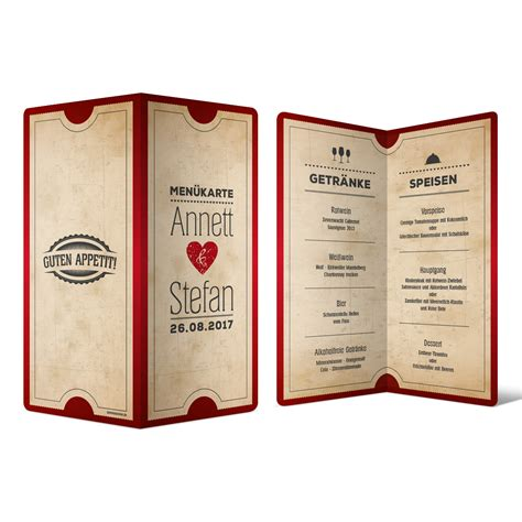 menuekarten hochzeit vintage herz  rot speisekarte