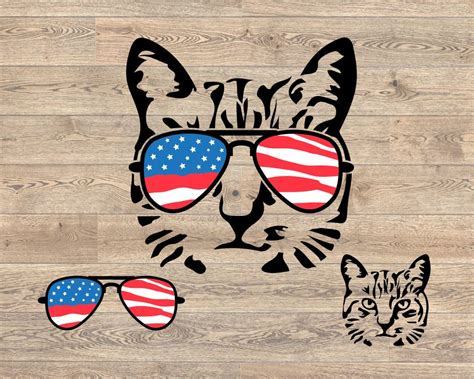You have reached the limit of edited icons. Cat USA Flag Glasses SVG - DIGITANZA