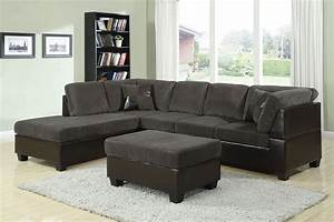 Connell dark grey corduroy espresso sectional sofa set for Gray sectional sofa with ottoman