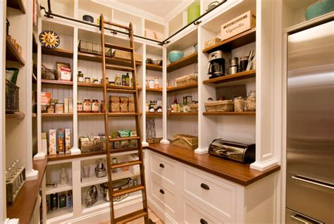 Beadboard Pantry : Rolling-library-ladder-kitchen-beach-with-beadboard-full