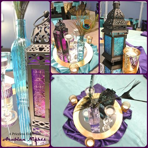 buy sweet 16 centerpiece peacock purple turquoise gold arabian nights centerpieces