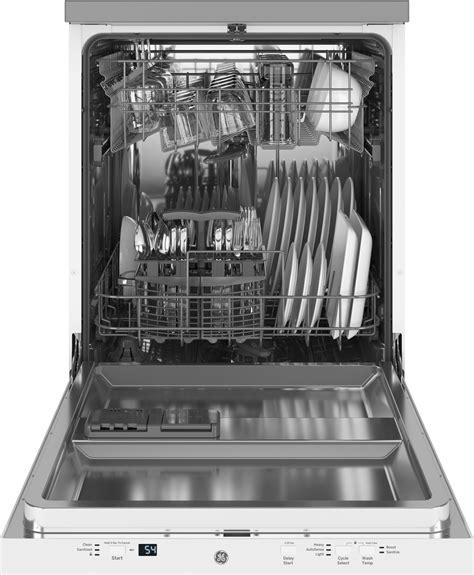 gptsglww ge   portable dishwasher white door  ss interior  recessed handle