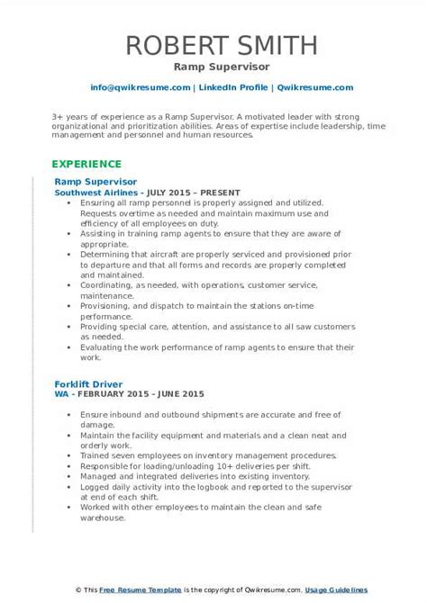 ramp supervisor resume samples qwikresume