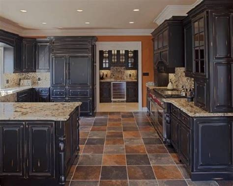 Black Kitchen Furniture by Furniture Suave Distressed Black Kitchen Cabinets