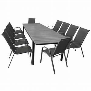 Polywood Gartenmöbel Set : 11tlg terrassenm bel set gartentisch ausziehbar aluminium polywood 280 220x95cm 10 stapelbare ~ Markanthonyermac.com Haus und Dekorationen