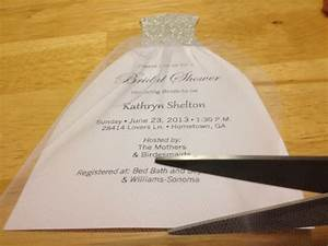 how to diy bridal shower invitations we tie the knots With wedding dress cut out bridal shower invitations
