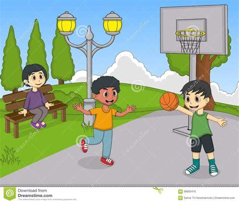 children playing basketball   park    watching cartoon stock vector image