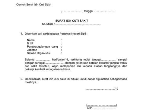 Contoh Surat Cuti Sakit Pegawai Negeri Sipil Suratmenyuratnet