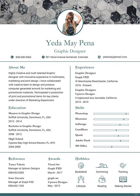 modern resume  cv template  adobe photoshop