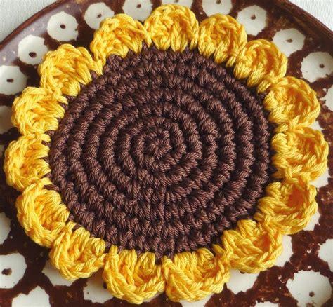 Free Curtain Crochet Patterns by Crochet Sunflower By Monikadesign Crocheting Pattern
