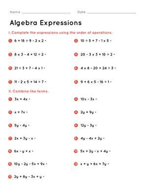 algebra expressions worksheet educationcom