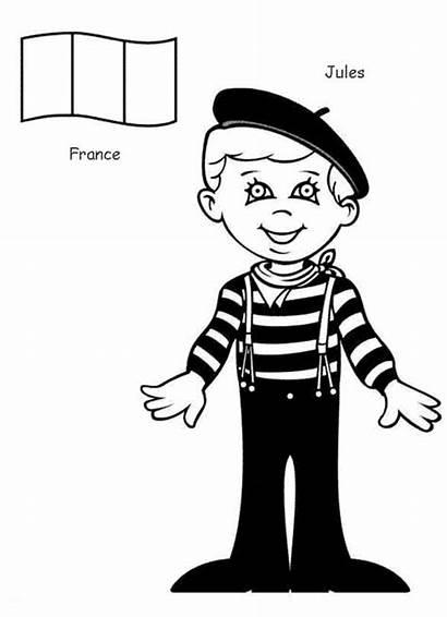 Coloring Around French Kid Jules Children Sheet