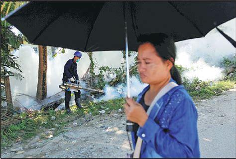 worker fumigates  street  yangon myanmar  friday
