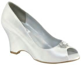 wedding shoe wedges minka by dyeables satin wedge heel wedding shoes