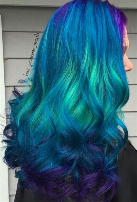Beautiful Teal Blue Dyed Hair Color Bright Hair Colors