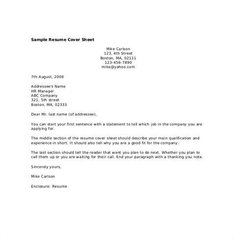 Cover Sheet For Resume by 12 Resume Cover Sheet Templates Free Sle Exle