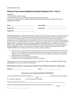 medical exemption request form template