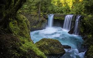 Beautiful, Waterfall, Blue, Water, Rocks, Green, Forest, Hd