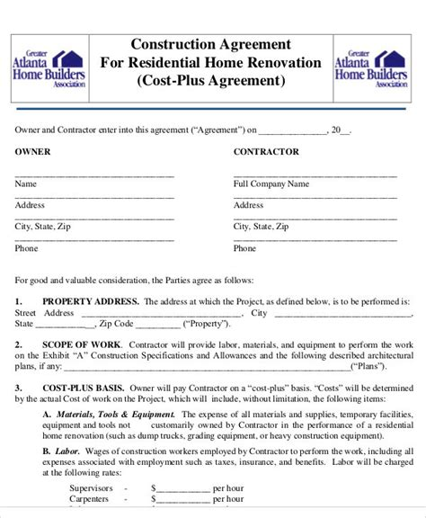 Building Contracts Template Free Printable Building Contract Template 868