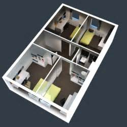 Stunning Images Small House Plans With In Suite by 2 Bedroom House Floor Plan In 3d House Floor Plans