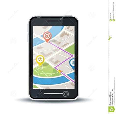 gps a phone mobile phone with gps map application royalty free stock