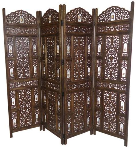 4 panel carved indian wooden bells design folding screen room divider