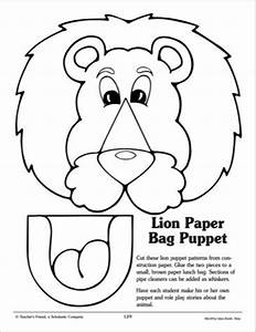 paper lion and printables on pinterest With tiger puppet template