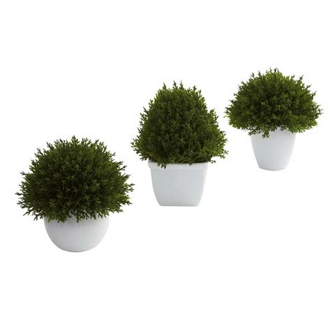 Artificial Cedar Topiary Bush Plants W White Pot Indoor