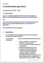 confidentiality agreement protect  confidential