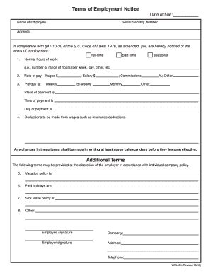 Form Terms Employment  Fill Online, Printable, Fillable