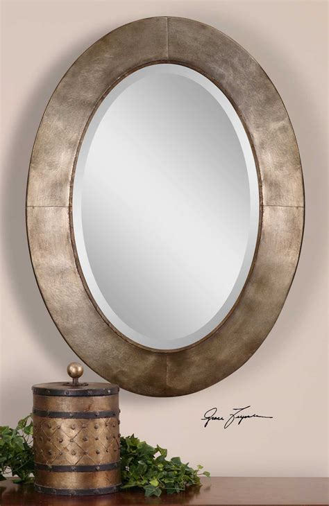 bathroom mirror oval uttermost kayenta 28 x 38 antique silver chagne wall 11064