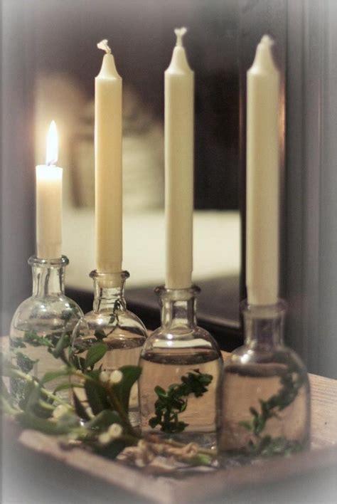 Modernen Adventskranz Selber Basteln by Kerzenhalter Aus Kleinen Glasflaschen Voll Wasser