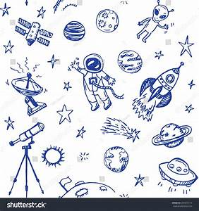 Hand Drawn Space Doodle Seamless Background. Stock Vector ...