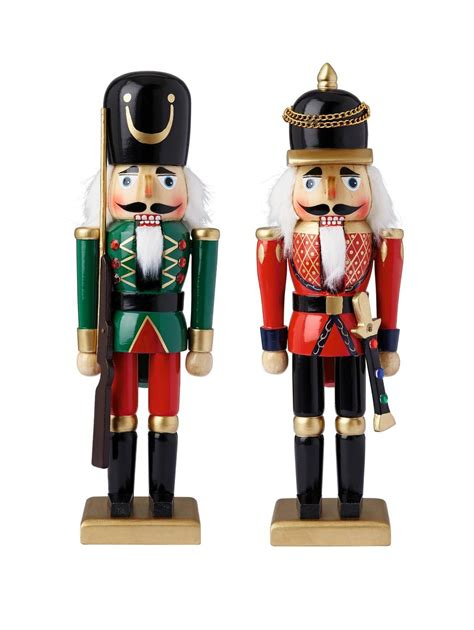 wooden nutcracker soldiers christmas decorations  pack