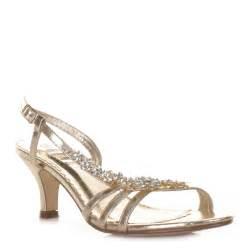 wedding shoes heels womens low heel gold flower diamante slingback prom wedding shoes size 3 8 ebay