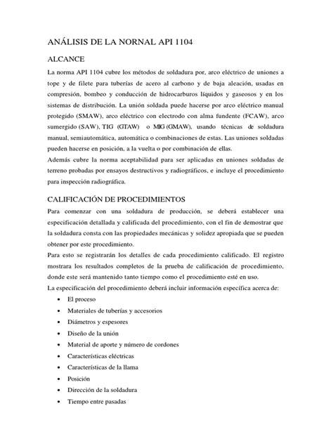ANALISIS DE LA NORMA API 1104 | Soldadura | Corrosión