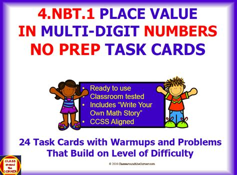 4nbt1 Math 4th Grade No Prep Task Cards—place Value In Multidigit Numbers By
