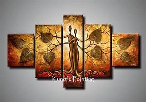 100% hand painted discount abstract 5 panel canvas art