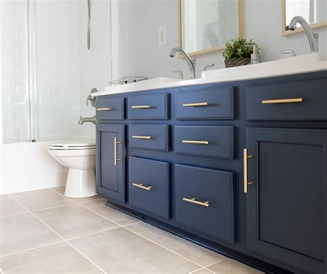 Blue Bathroom Cabinets by Painted Bathroom Cabinet Update Midnight Blue