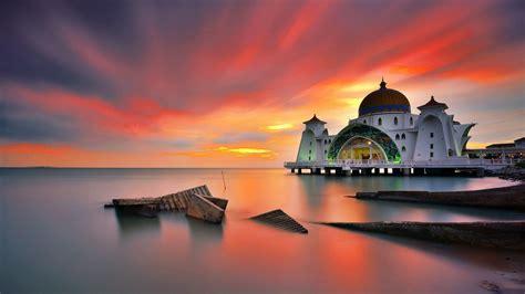 Full Hd Selat Melaka Mosque Malaysia Desktop Wallpaper