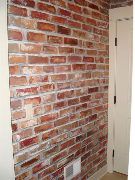 faux brick interior wall image painted faux brick wall to give my mud room a