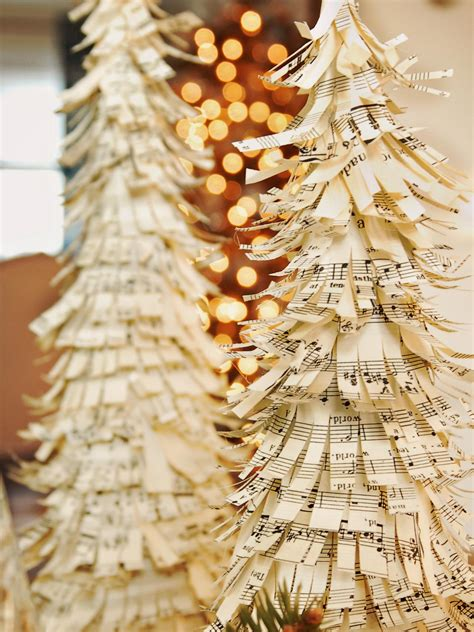 how to make sheet music christmas trees hgtv
