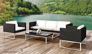 Salon De Jardin Design : salon bas jardin design en resine tressee noire 5 places nova ~ Dailycaller-alerts.com Idées de Décoration
