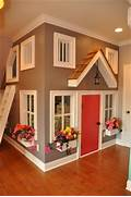 Build The Custom Dream House For Your Life Great Colors Used On This Indoor Playhouse In Basement