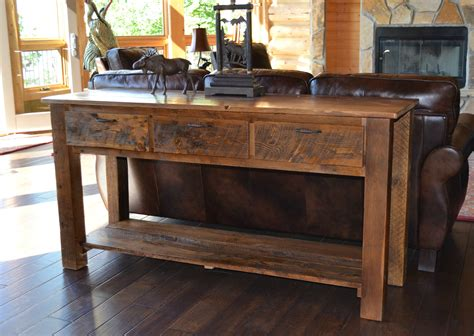 livingroom or living room reclaimed teton 3 drawer sofa table rustic furniture