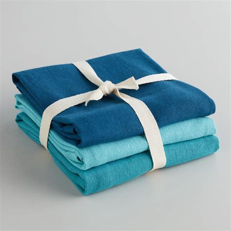 kitchen towel sets blue flour sack kitchen towels set of 3 world market