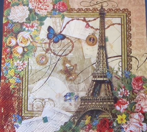hand crafted love paris paper napkins decoupage