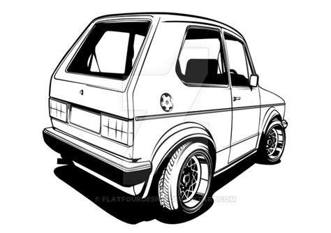 Kleurplaat Golf Gti by Vw Golf Gti Mki Line Drawing By Flatfourdesign On Deviantart